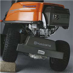 Husqvarna rider lawnmower R214T showing the rear pivot axle in action